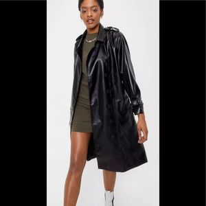 Nasty gal Faux Leather Belted Longline Trench Coat